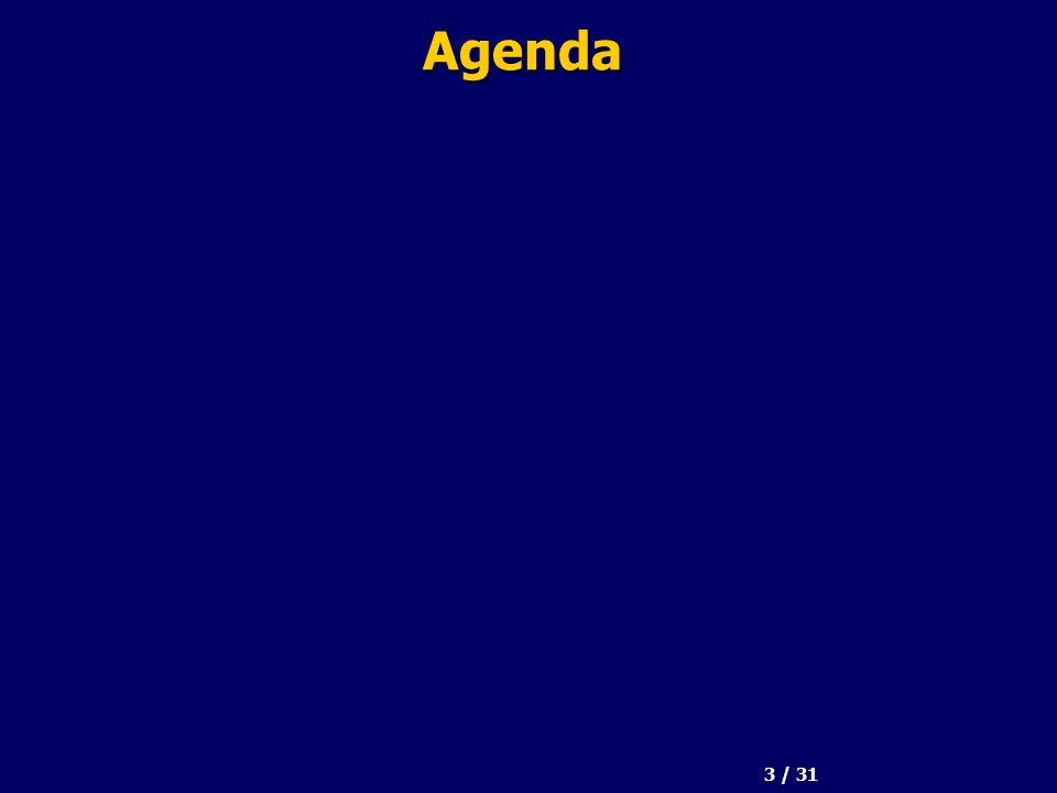 3 / 31 Agenda