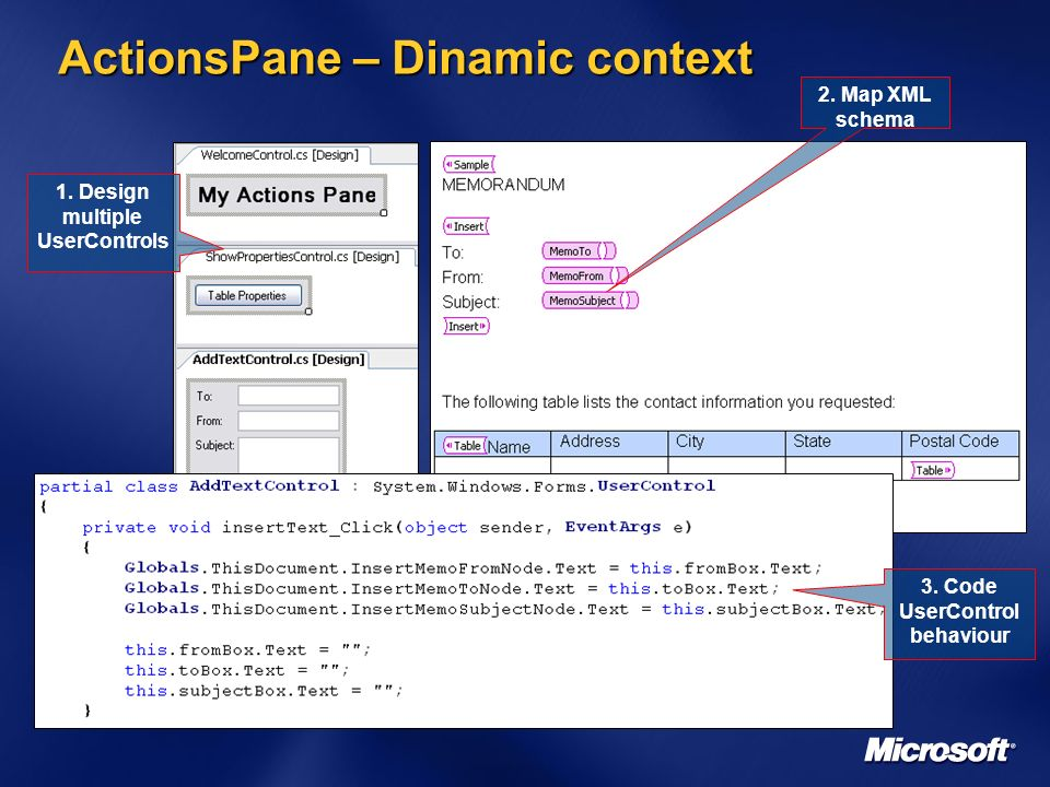 ActionsPane – Dinamic context 1. Design multiple UserControls 2.