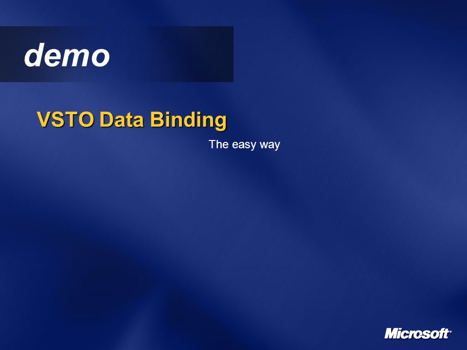 demo VSTO Data Binding The easy way