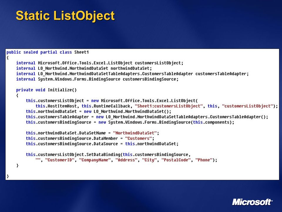 Static ListObject