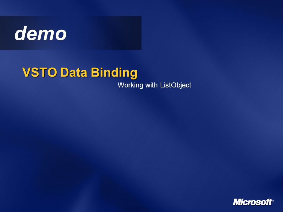 demo VSTO Data Binding Working with ListObject