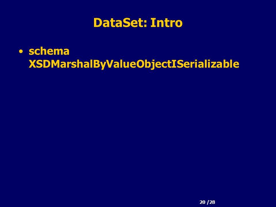 20 /28 DataSet: Intro schema XSDMarshalByValueObjectISerializable