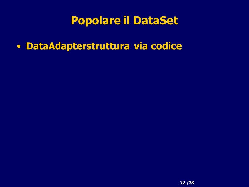 22 /28 Popolare il DataSet DataAdapterstruttura via codice