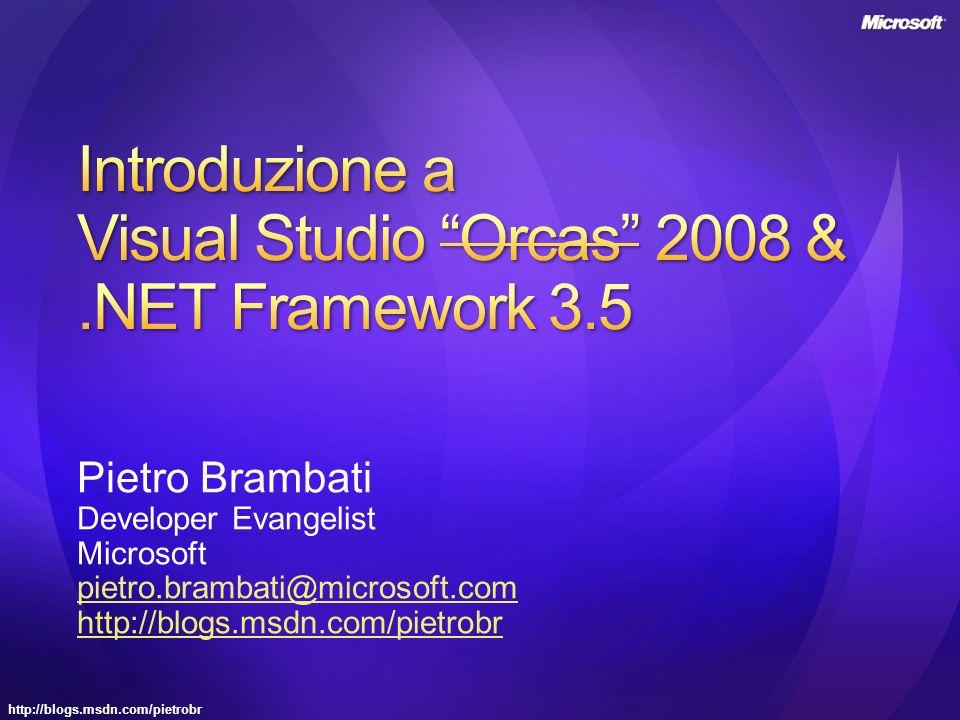 http://blogs.msdn.com/pietrobr Pietro Brambati Developer Evangelist Microsoft pietro.brambati@microsoft.com http://blogs.msdn.com/pietrobr