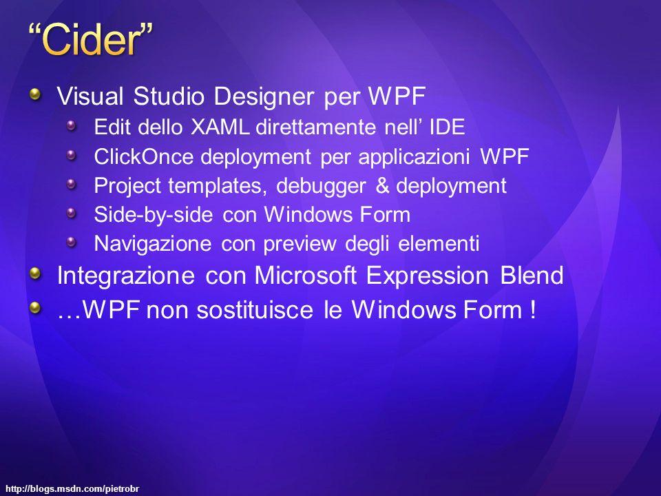 Visual Studio Designer per WPF Edit dello XAML direttamente nell IDE ClickOnce deployment per applicazioni WPF Project templates, debugger & deployment Side-by-side con Windows Form Navigazione con preview degli elementi Integrazione con Microsoft Expression Blend …WPF non sostituisce le Windows Form !