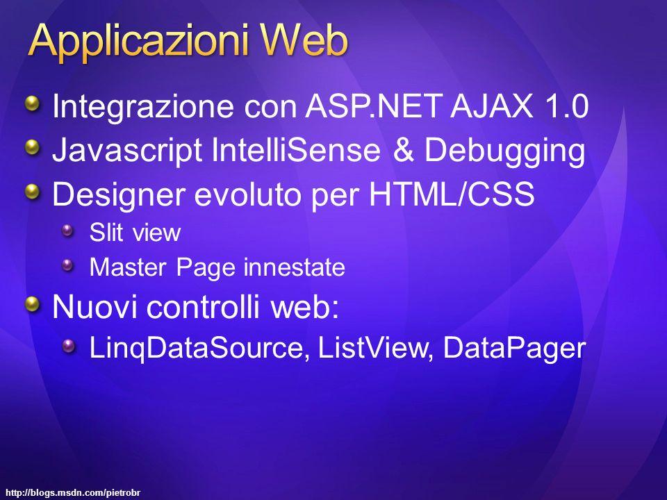 http://blogs.msdn.com/pietrobr Integrazione con ASP.NET AJAX 1.0 Javascript IntelliSense & Debugging Designer evoluto per HTML/CSS Slit view Master Page innestate Nuovi controlli web: LinqDataSource, ListView, DataPager