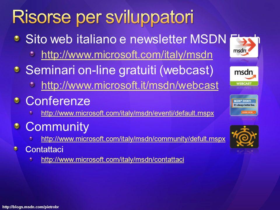 http://blogs.msdn.com/pietrobr Sito web italiano e newsletter MSDN Flash http://www.microsoft.com/italy/msdn Seminari on-line gratuiti (webcast) http://www.microsoft.it/msdn/webcast Conferenze http://www.microsoft.com/italy/msdn/eventi/default.mspx Community http://www.microsoft.com/italy/msdn/community/defult.mspx Contattaci http://www.microsoft.com/italy/msdn/contattaci