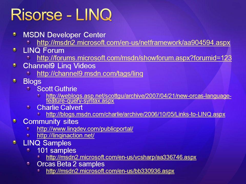 MSDN Developer Center http://msdn2.microsoft.com/en-us/netframework/aa904594.aspx LINQ Forum http://forums.microsoft.com/msdn/showforum.aspx?forumid=123 Channel9 Linq Videos http://channel9.msdn.com/tags/linq Blogs Scott Guthrie http://weblogs.asp.net/scottgu/archive/2007/04/21/new-orcas-language- feature-query-syntax.aspx Charlie Calvert http://blogs.msdn.com/charlie/archive/2006/10/05/Links-to-LINQ.aspx Community sites http://www.linqdev.com/publicportal/ http://linqinaction.net/ LINQ Samples 101 samples http://msdn2.microsoft.com/en-us/vcsharp/aa336746.aspx Orcas Beta 2 samples http://msdn2.microsoft.com/en-us/bb330936.aspx