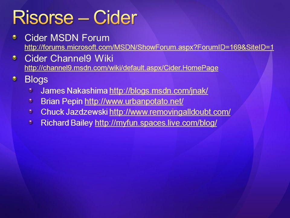 Cider MSDN Forum http://forums.microsoft.com/MSDN/ShowForum.aspx?ForumID=169&SiteID=1 http://forums.microsoft.com/MSDN/ShowForum.aspx?ForumID=169&Site