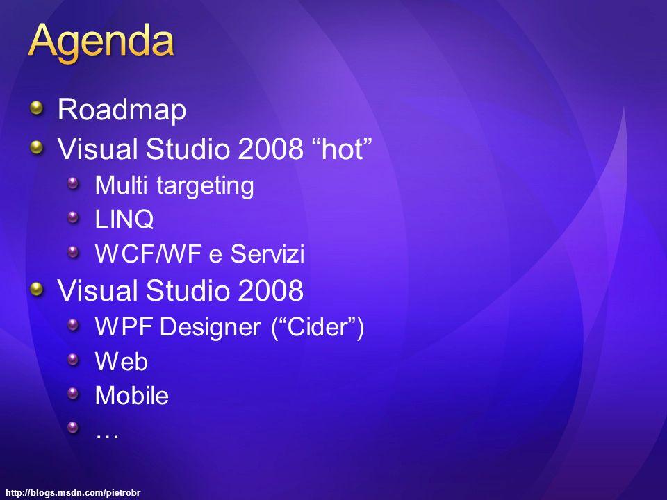 Roadmap Visual Studio 2008 hot Multi targeting LINQ WCF/WF e Servizi Visual Studio 2008 WPF Designer (Cider) Web Mobile …
