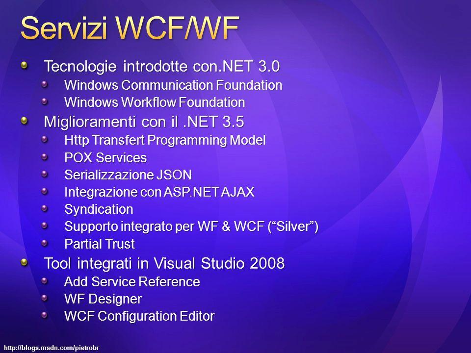 Tecnologie introdotte con.NET 3.0 Windows Communication Foundation Windows Workflow Foundation Miglioramenti con il.NET 3.5 Http Transfert Programming Model POX Services Serializzazione JSON Integrazione con ASP.NET AJAX Syndication Supporto integrato per WF & WCF (Silver) Partial Trust Tool integrati in Visual Studio 2008 Add Service Reference WF Designer WCF Configuration Editor