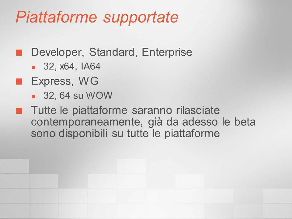 Piattaforme supportate Developer, Standard, Enterprise 32, x64, IA64 Express, WG 32, 64 su WOW Tutte le piattaforme saranno rilasciate contemporaneamente, già da adesso le beta sono disponibili su tutte le piattaforme