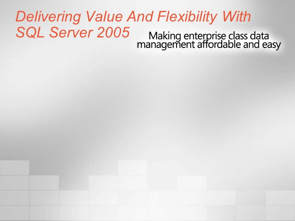 Delivering Value And Flexibility With SQL Server 2005