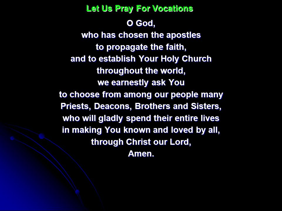 O God, who has chosen the apostles to propagate the faith, and to establish Your Holy Church throughout the world, we earnestly ask You to choose from