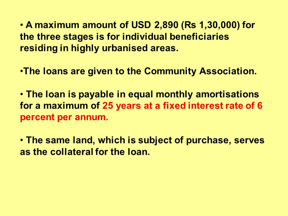 A maximum amount of USD 2,890 (Rs 1,30,000) for the three stages is for individual beneficiaries residing in highly urbanised areas. The loans are giv