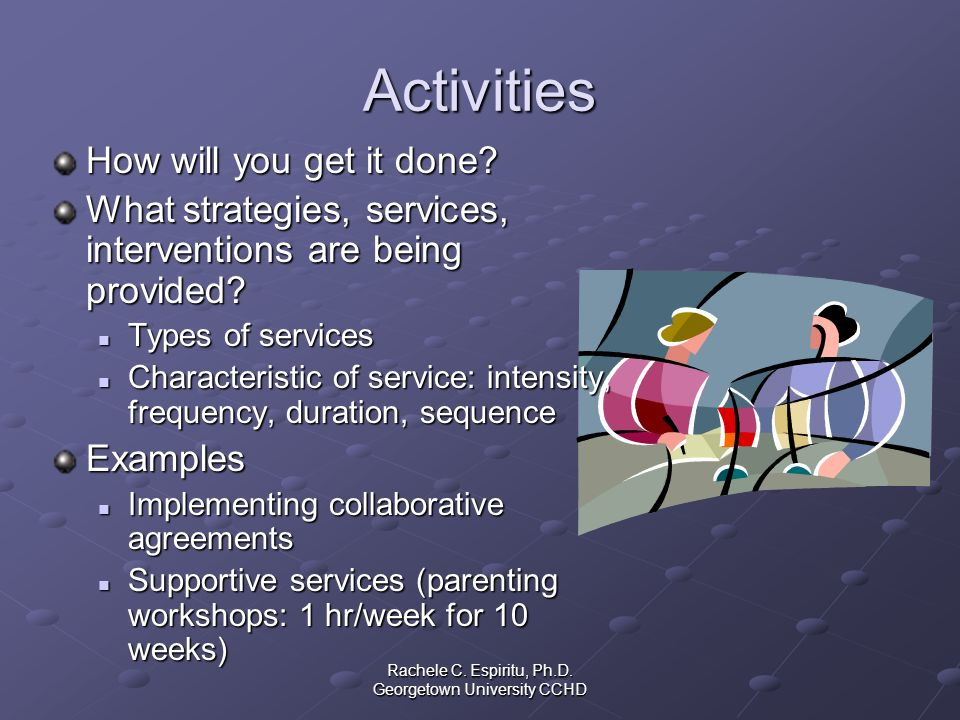 Rachele C. Espiritu, Ph.D. Georgetown University CCHD Activities How will you get it done? What strategies, services, interventions are being provided