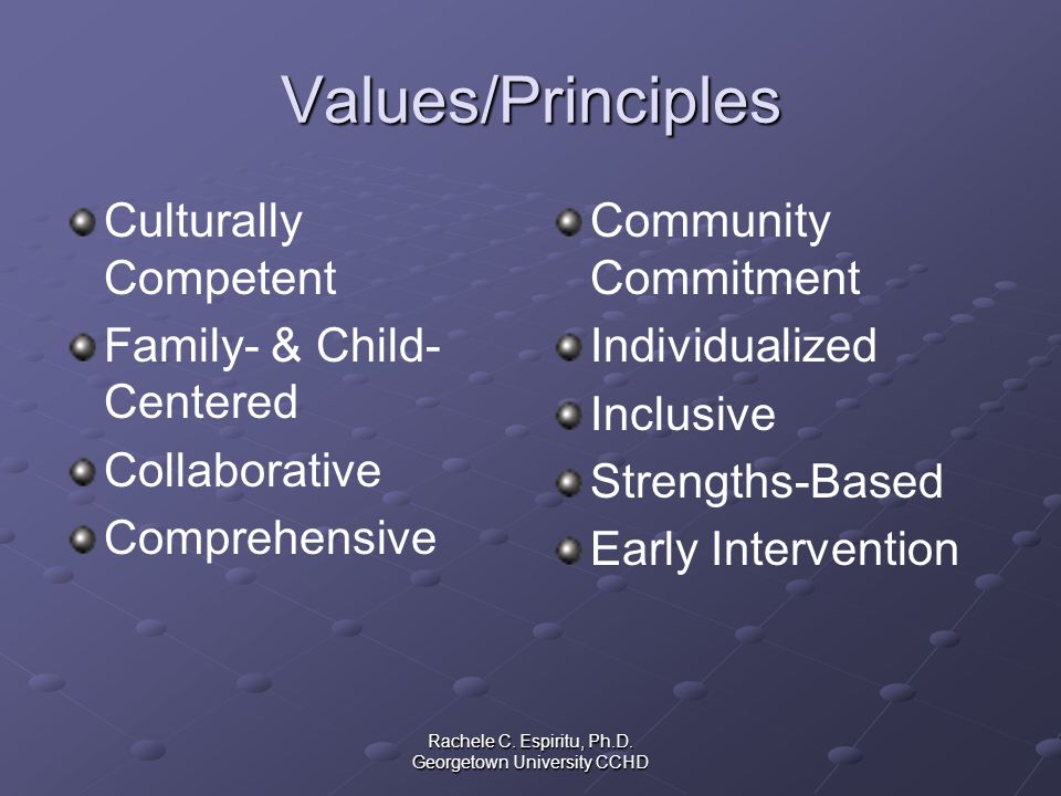 Rachele C. Espiritu, Ph.D. Georgetown University CCHD Values/Principles Culturally Competent Family- & Child- Centered Collaborative Comprehensive Com