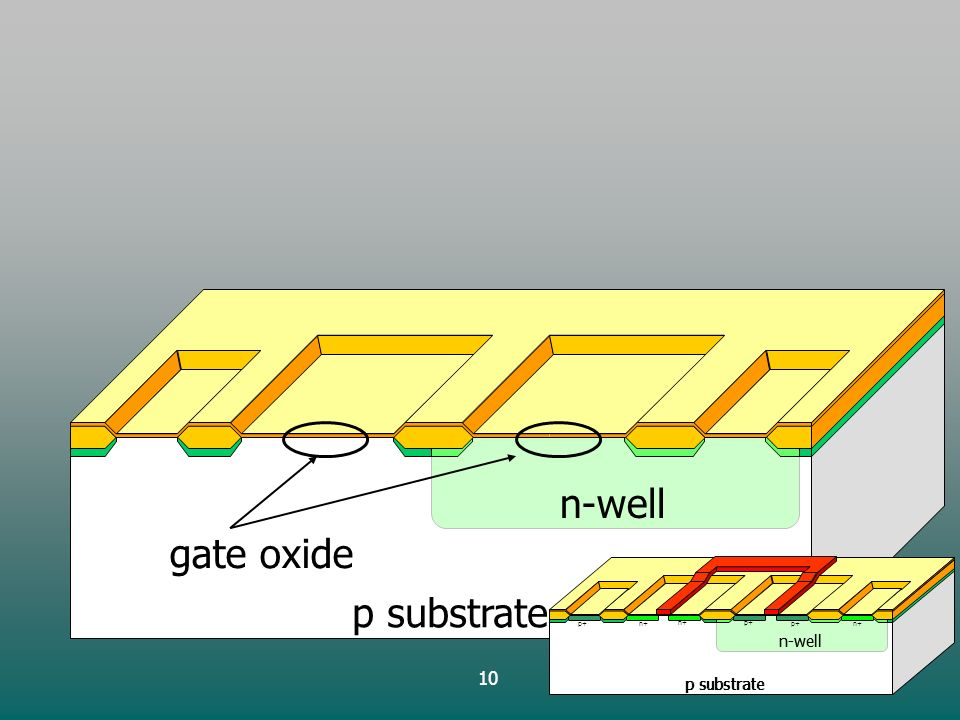 10 p substrate n-well gate oxide p substrate n-well p+ p substrate n-well n+