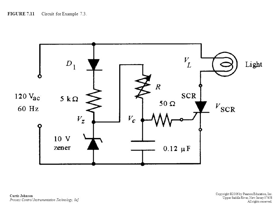 FIGURE 7.11 Circuit for Example 7.3. Curtis Johnson Process Control Instrumentation Technology, 8e] Copyright ©2006 by Pearson Education, Inc. Upper S