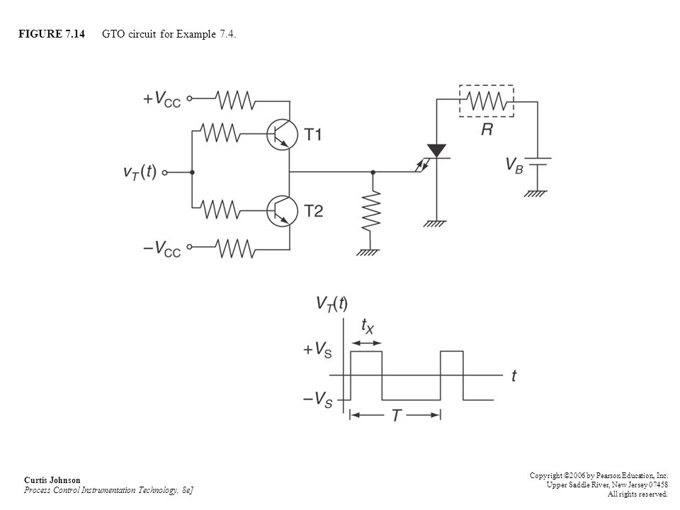 FIGURE 7.14 GTO circuit for Example 7.4. Curtis Johnson Process Control Instrumentation Technology, 8e] Copyright ©2006 by Pearson Education, Inc. Upp