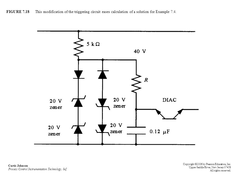 FIGURE 7.18 This modification of the triggering circuit eases calculation of a solution for Example 7.4. Curtis Johnson Process Control Instrumentatio