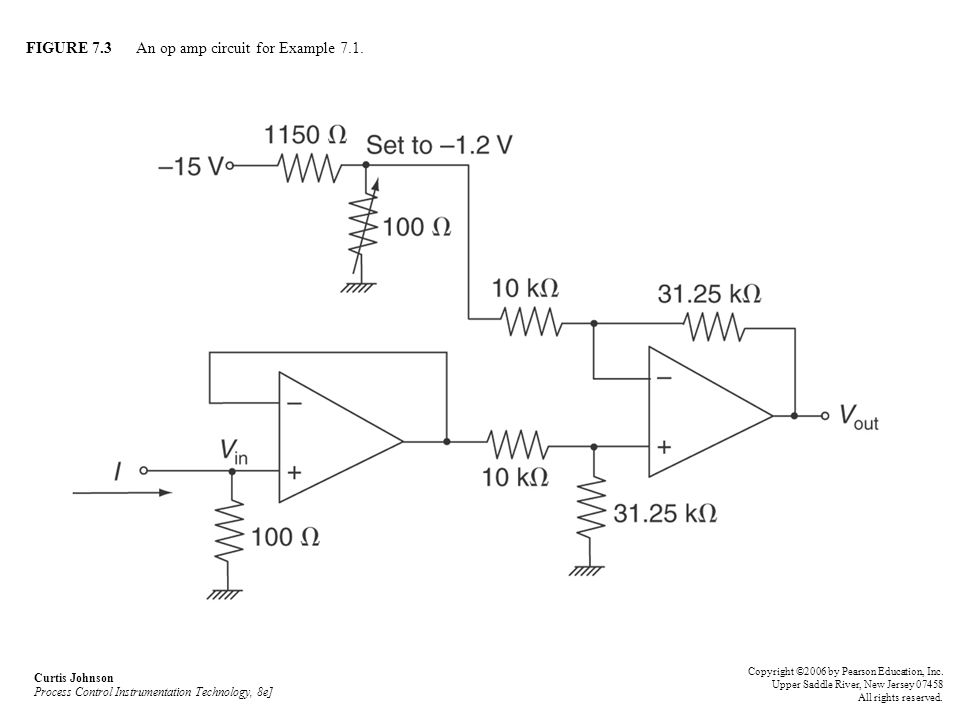 FIGURE 7.3 An op amp circuit for Example 7.1. Curtis Johnson Process Control Instrumentation Technology, 8e] Copyright ©2006 by Pearson Education, Inc
