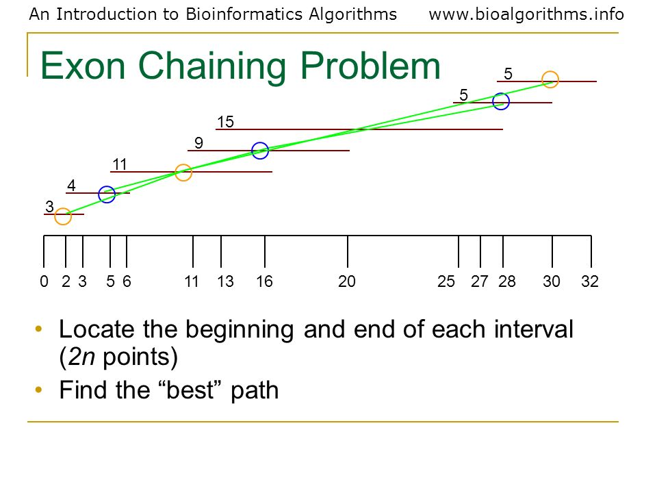 An Introduction to Bioinformatics Algorithmswww.bioalgorithms.info Exon Chaining Problem Locate the beginning and end of each interval (2n points) Fin