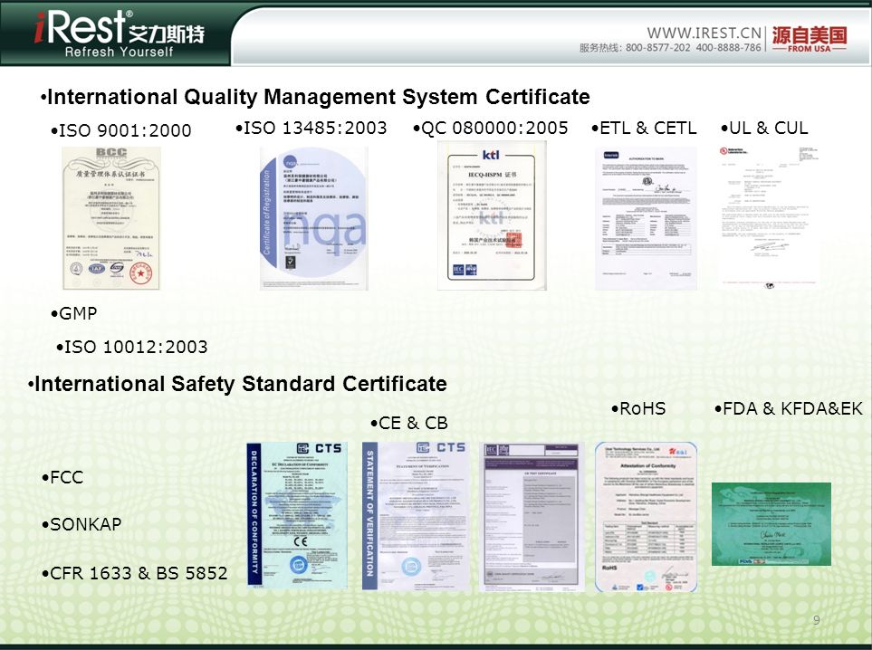 9 International Quality Management System Certificate International Safety Standard Certificate ISO 9001:2000 ISO 13485:2003 GMP QC 080000:2005 ISO 10