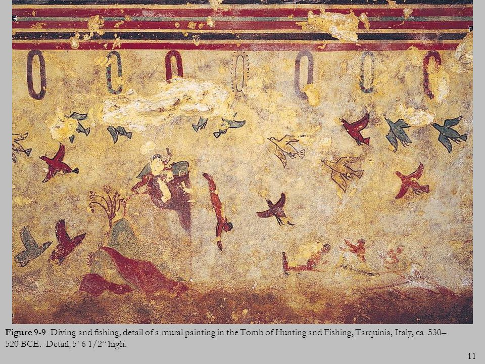 11 Figure 9-9 Diving and shing, detail of a mural painting in the Tomb of Hunting and Fishing, Tarquinia, Italy, ca. 530– 520 BCE. Detail, 5 6 1/2 hig