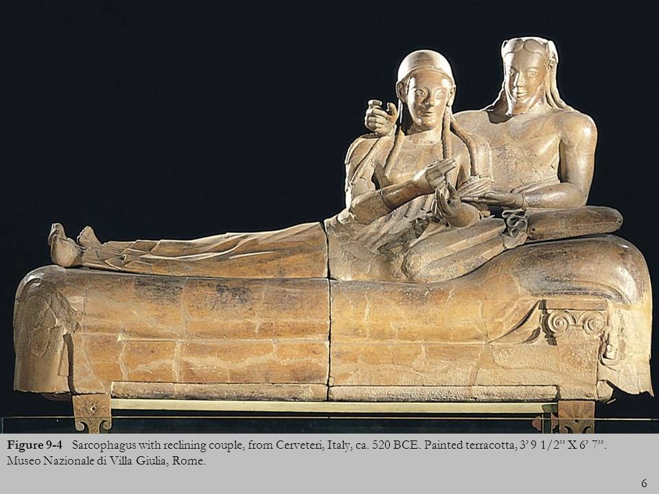 6 Figure 9-4 Sarcophagus with reclining couple, from Cerveteri, Italy, ca. 520 BCE. Painted terracotta, 3 9 1/2 X 6 7. Museo Nazionale di Villa Giulia