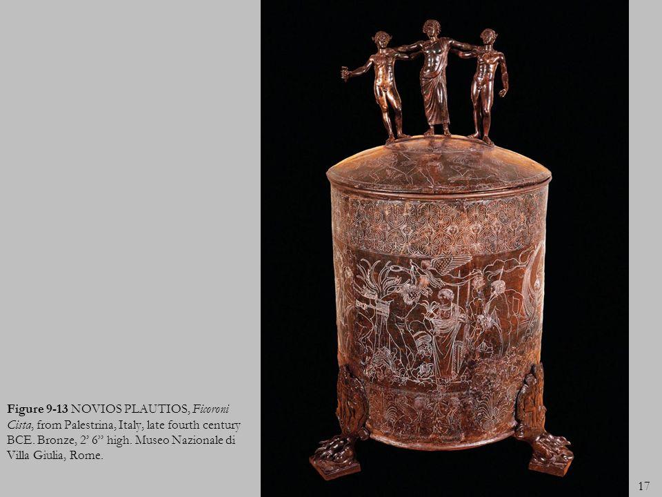 17 Figure 9-13 NOVIOS PLAUTIOS, Ficoroni Cista, from Palestrina, Italy, late fourth century BCE. Bronze, 2 6 high. Museo Nazionale di Villa Giulia, Ro