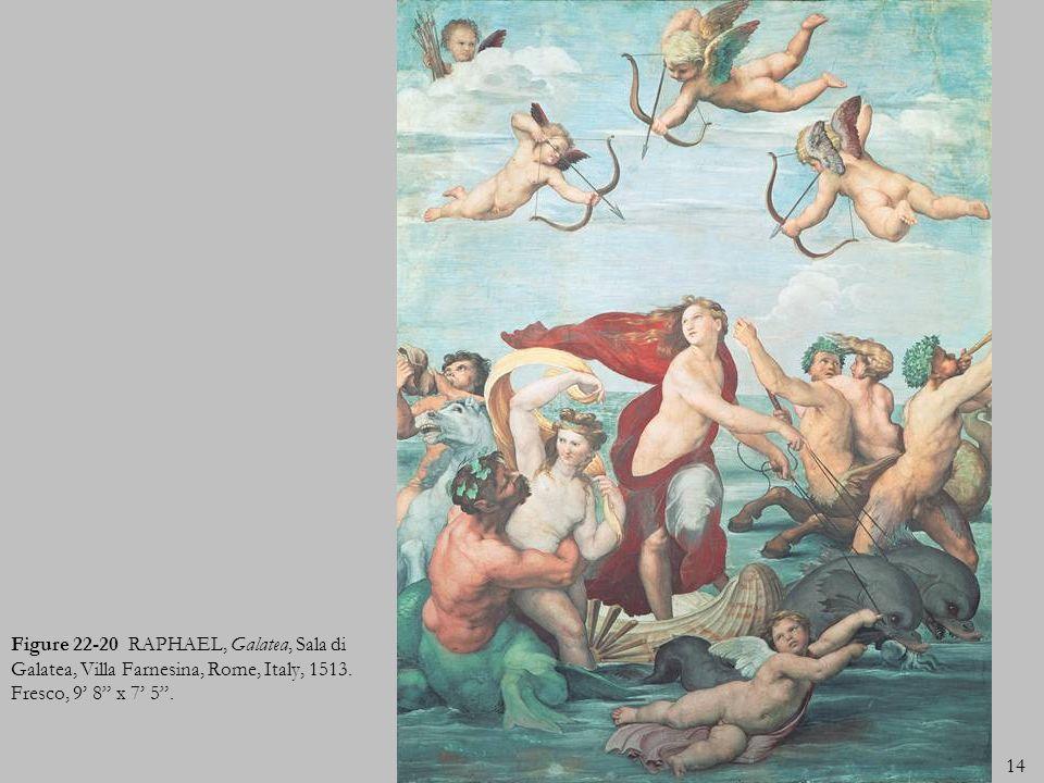 14 Figure 22-20 RAPHAEL, Galatea, Sala di Galatea, Villa Farnesina, Rome, Italy, 1513. Fresco, 9 8 x 7 5.