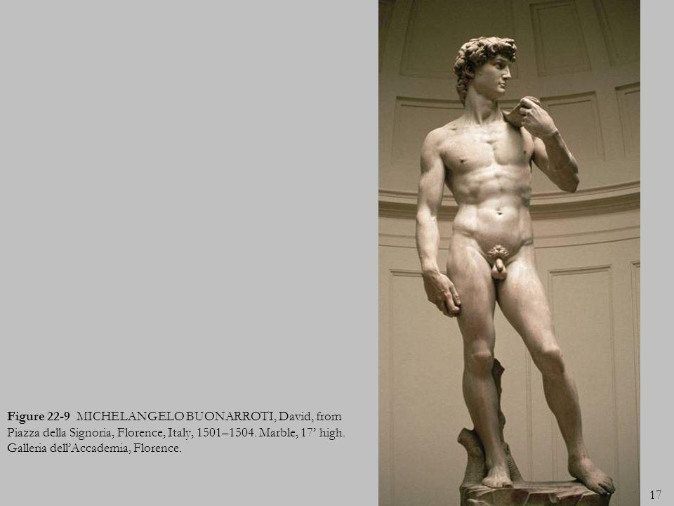 17 Figure 22-9 MICHELANGELO BUONARROTI, David, from Piazza della Signoria, Florence, Italy, 1501–1504. Marble, 17 high. Galleria dellAccademia, Floren