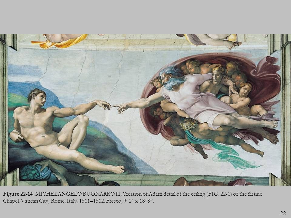 22 Figure 22-14 MICHELANGELO BUONARROTI, Creation of Adam detail of the ceiling (FIG. 22-1) of the Sistine Chapel, Vatican City, Rome, Italy, 1511–151