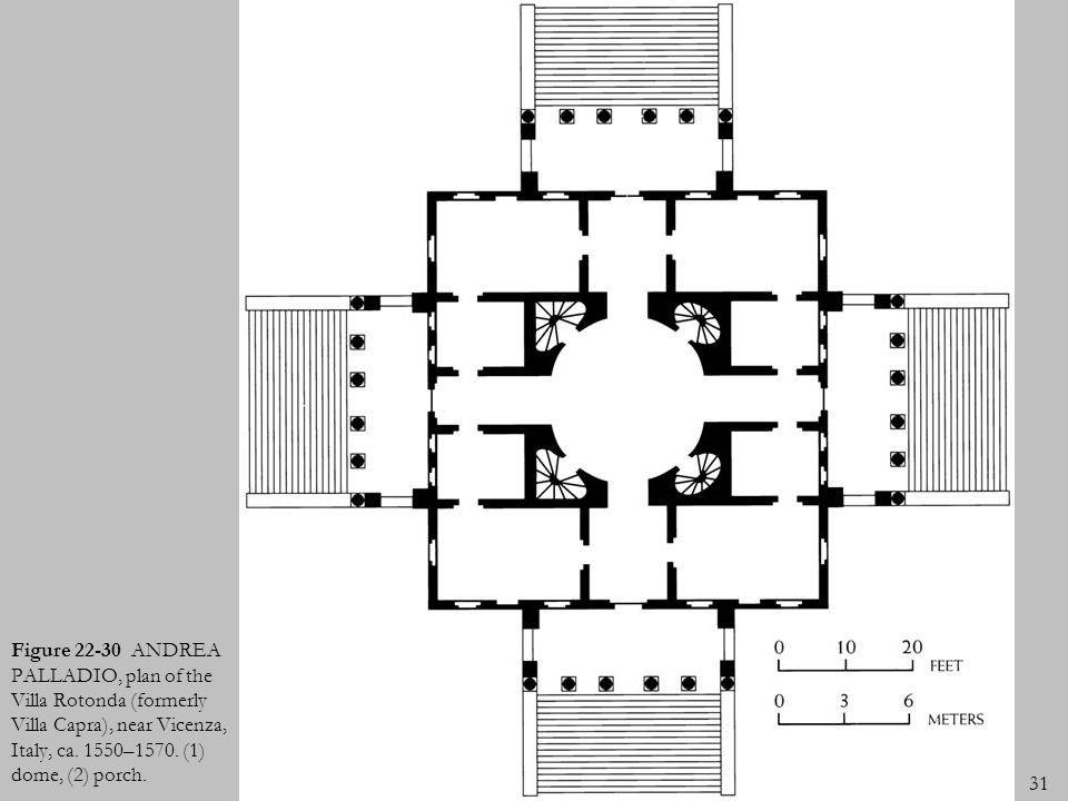 31 Figure 22-30 ANDREA PALLADIO, plan of the Villa Rotonda (formerly Villa Capra), near Vicenza, Italy, ca. 1550–1570. (1) dome, (2) porch.