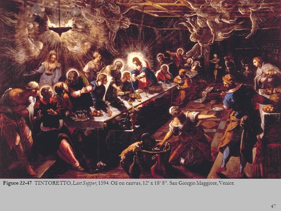 47 Figure 22-47 TINTORETTO, Last Supper, 1594. Oil on canvas, 12 x 18 8. San Giorgio Maggiore, Venice.