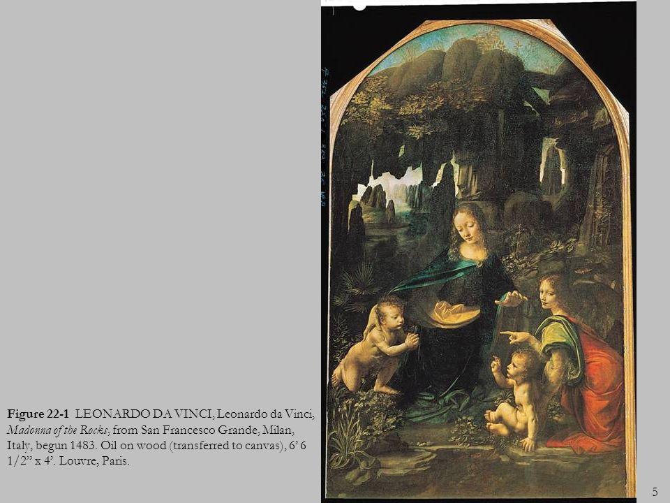 5 Figure 22-1 LEONARDO DA VINCI, Leonardo da Vinci, Madonna of the Rocks, from San Francesco Grande, Milan, Italy, begun 1483. Oil on wood (transferre