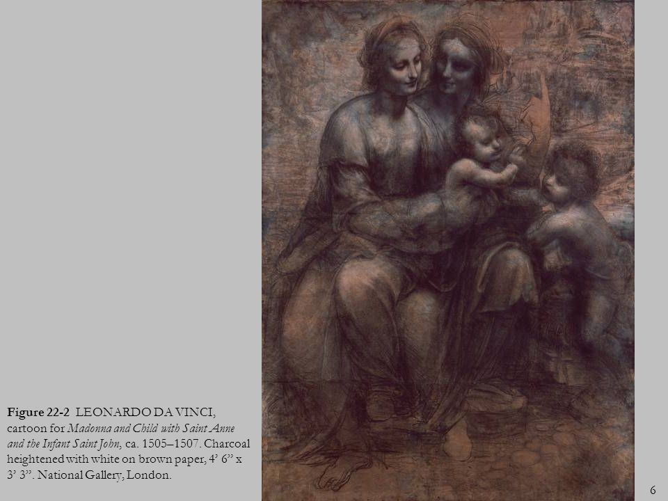 6 Figure 22-2 LEONARDO DA VINCI, cartoon for Madonna and Child with Saint Anne and the Infant Saint John, ca. 1505–1507. Charcoal heightened with whit