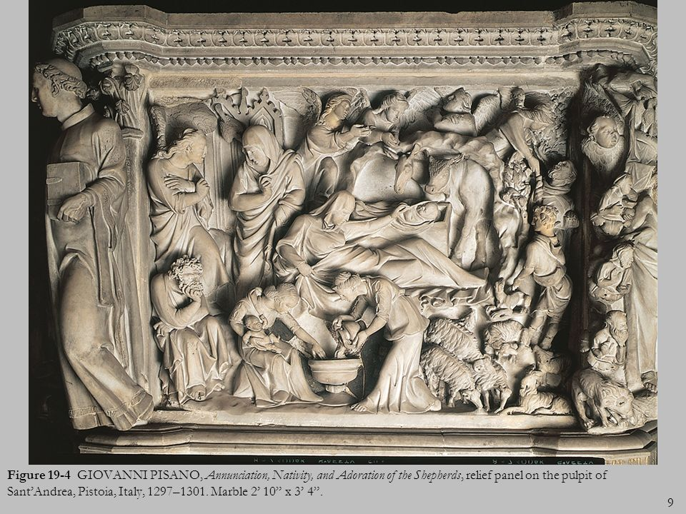 9 Figure 19-4 GIOVANNI PISANO, Annunciation, Nativity, and Adoration of the Shepherds, relief panel on the pulpit of SantAndrea, Pistoia, Italy, 1297–