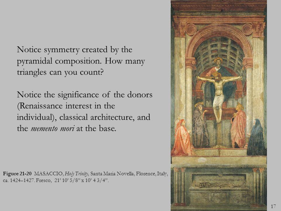 17 Figure 21-20 MASACCIO, Holy Trinity, Santa Maria Novella, Florence, Italy, ca. 1424–1427. Fresco, 21 10 5/8 x 10 4 3/4. Notice symmetry created by