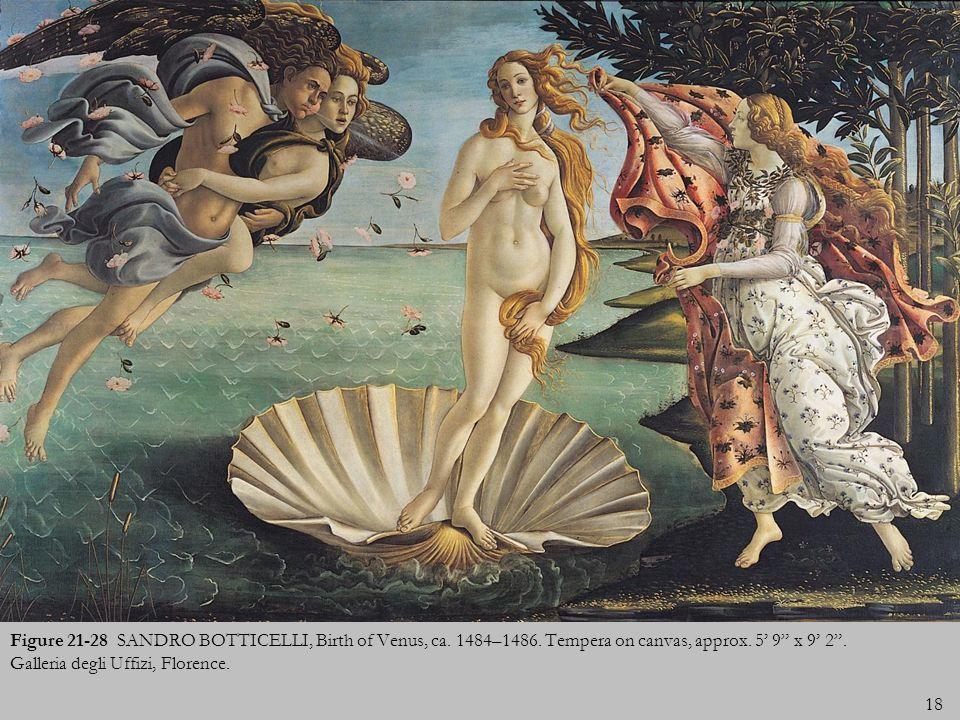 18 Figure 21-28 SANDRO BOTTICELLI, Birth of Venus, ca. 1484–1486. Tempera on canvas, approx. 5 9 x 9 2. Galleria degli Uffizi, Florence.