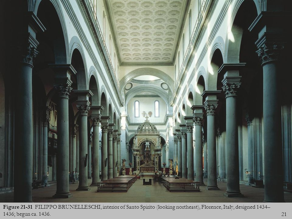 21 Figure 21-31 FILIPPO BRUNELLESCHI, interior of Santo Spirito (looking northeast), Florence, Italy, designed 1434– 1436; begun ca. 1436.