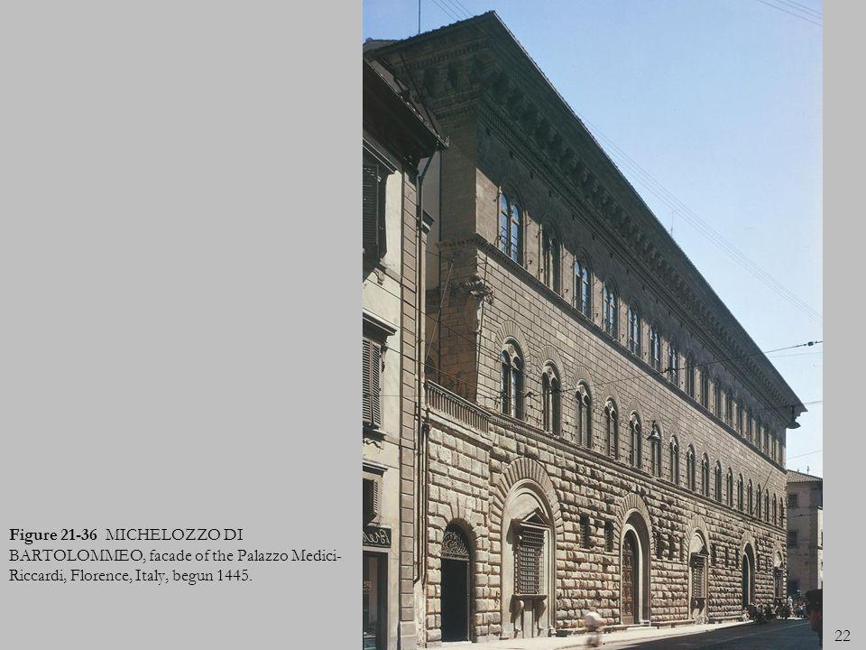 22 Figure 21-36 MICHELOZZO DI BARTOLOMMEO, facade of the Palazzo Medici- Riccardi, Florence, Italy, begun 1445.