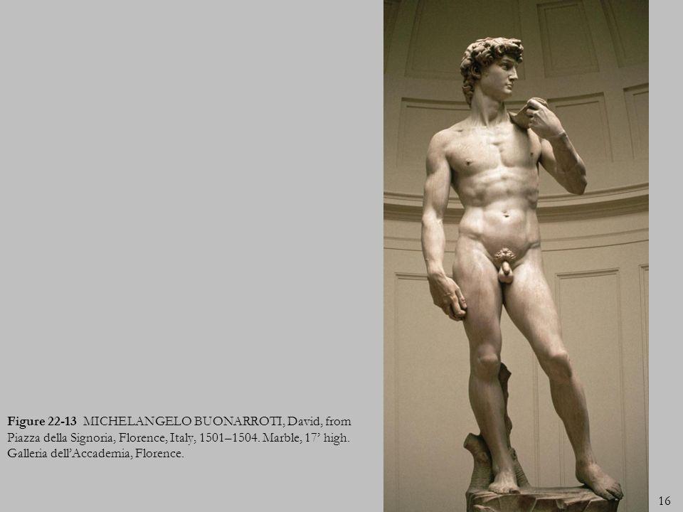 16 Figure 22-13 MICHELANGELO BUONARROTI, David, from Piazza della Signoria, Florence, Italy, 1501–1504. Marble, 17 high. Galleria dellAccademia, Flore