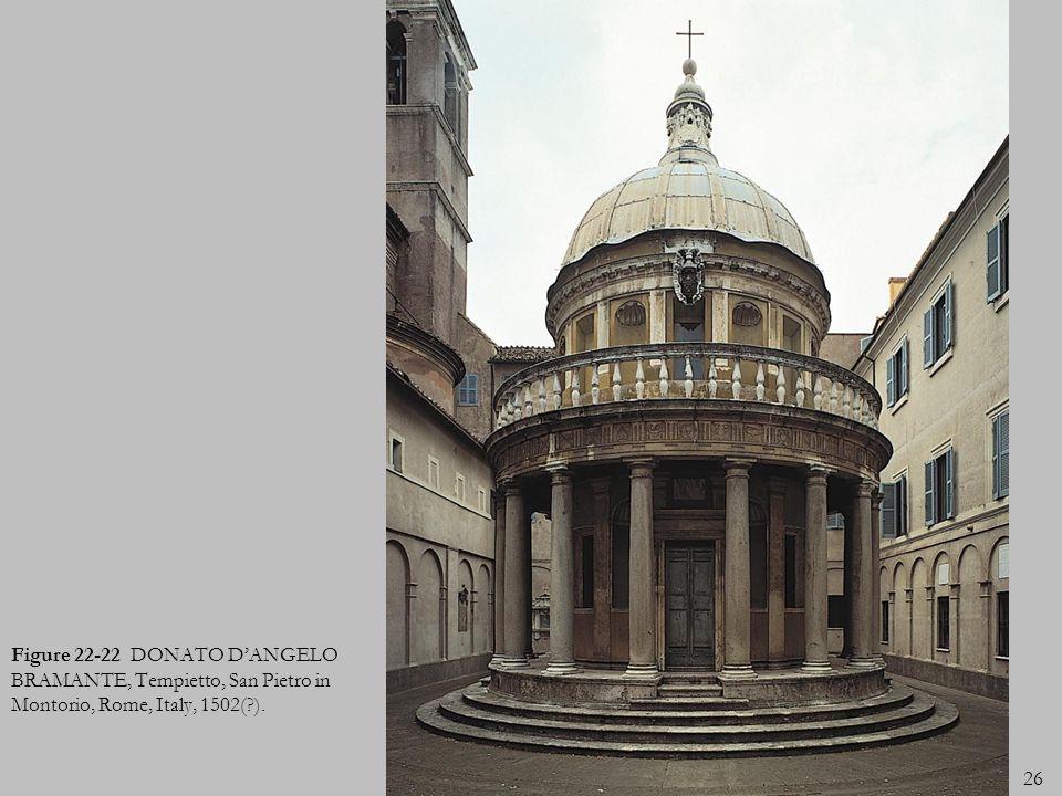 26 Figure 22-22 DONATO DANGELO BRAMANTE, Tempietto, San Pietro in Montorio, Rome, Italy, 1502(?).