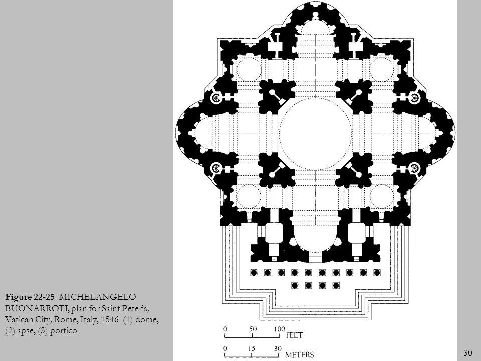 30 Figure 22-25 MICHELANGELO BUONARROTI, plan for Saint Peters, Vatican City, Rome, Italy, 1546. (1) dome, (2) apse, (3) portico.
