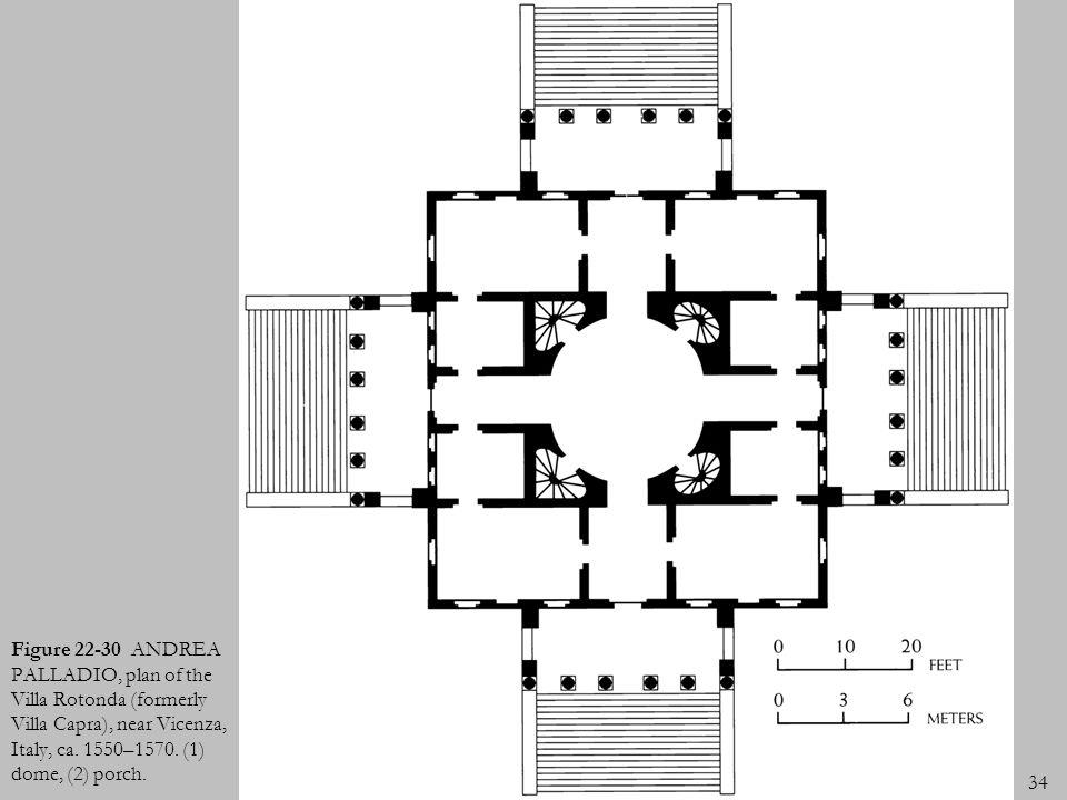 34 Figure 22-30 ANDREA PALLADIO, plan of the Villa Rotonda (formerly Villa Capra), near Vicenza, Italy, ca. 1550–1570. (1) dome, (2) porch.