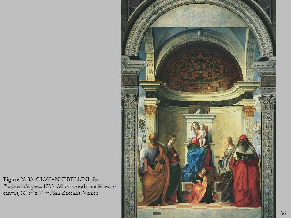 36 Figure 22-33 GIOVANNI BELLINI, San Zaccaria Altarpiece, 1505. Oil on wood transferred to canvas, 16 5 x 7 9. San Zaccaria, Venice.