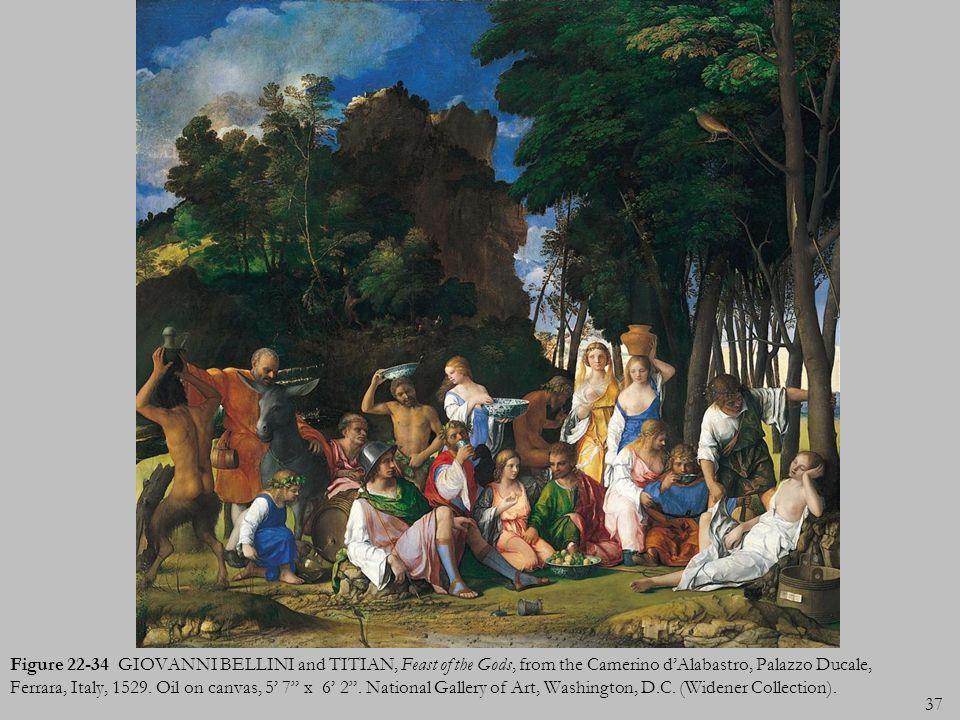 37 Figure 22-34 GIOVANNI BELLINI and TITIAN, Feast of the Gods, from the Camerino dAlabastro, Palazzo Ducale, Ferrara, Italy, 1529. Oil on canvas, 5 7