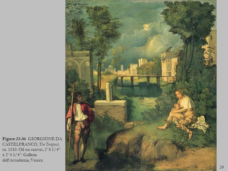 39 Figure 22-36 GIORGIONE DA CASTELFRANCO, The Tempest, ca. 1510. Oil on canvas, 2 8 1/4 x 2 4 3/4. Galleria dellAccademia, Venice.